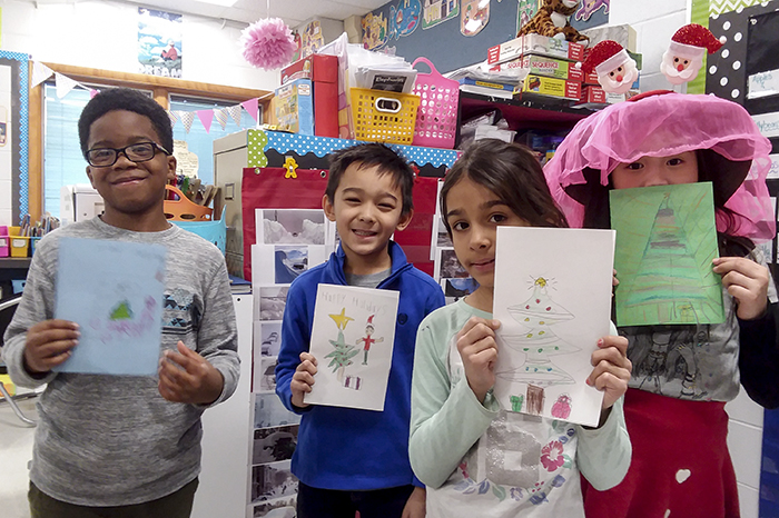 Brentwood Students with Holiday Cards